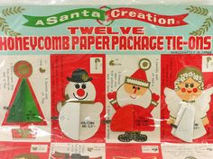 1960s Vintage Christmas Tags, Made in Japan, Honeycomb Ornaments.