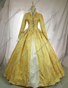 Victorian Tudor Gothic Jacquard Brocade Dress Ball Gown Stage Costume Reenactment Clothing