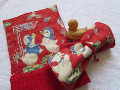 2 Just Ducky Baby Burp Cloths - Moda Fabric and Chenille - Boy Girl Baby Gifts by SweetLibertyStudio on Etsy