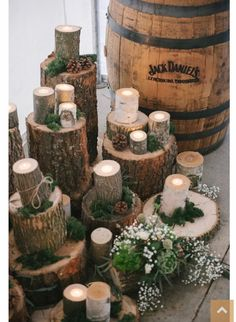 Rustic winter wedding decor.  Change that Bourbon barrel to a Buffalo Trace barrel and we're in business :)