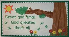 Sunday school lessons creation on pinterest creation for Pretty bulletin board