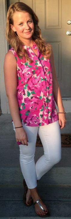 floral blouse - 1 way: white pants