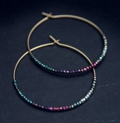 Hoop earrings with wire & tiny little beads.