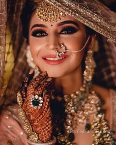 Fashion Beauty Lifestyle : 51 Most Beautiful Indian Bridal Makeup Looks and C. Indian Wedding Makeup, Indian Wedding Bride, Pakistani Bridal Makeup, Indian Wedding Jewellery, Indian Bride Poses, Indian Bride And Groom, Indian Makeup, Bridal Jewellery, Indian Weddings