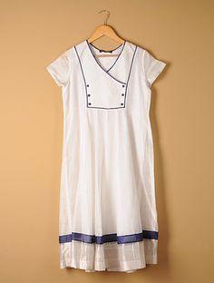 Buy White Ivory Pintuck Kalidar Hand woven Chanderi Kurta Online at Jaypore.com