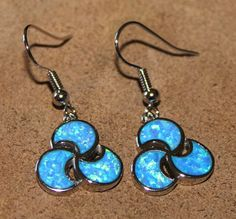 blue fire opal earrings Gemstone silver jewelry unique elegant drop dangle Y872E #DropDangle