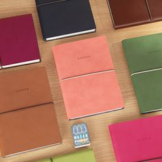 "Agenda Scheduler v2 large - synthetic leather, 5.3 x 7.5"" - raspberry, cherry pink, or apple green - $38 at Mochi Things"