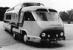 Pathe-Marconi Super Bus, Designed by Philippe Charbonneaux based on a Panhard IE 45 HL articulated truck it was used as a promotional vehicle during the Tour de France. At the end of each stage,. Vintage Trailers, Vintage Cars, Cool Rvs, Hymer, Cool Campers, Commercial Vehicle, Camper Trailers, Automobile, Cool Trucks