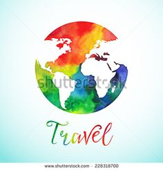 Vector watercolor globe sphere, map design. Travel. Background. Calligraphy badge.