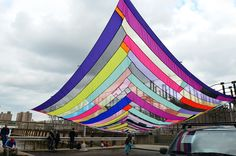 Rachel Hayes, Dumbo Freestyle Canopy, 2012  35' x 35'  fabric, ropes  Dumbo, Brooklyn - Dumbo Art Festival