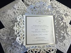 Luxurious Crytal White Lasercut and Silver Foil by 710Designs