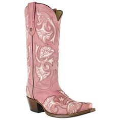 Corral Women's Floral Stitched Snip Toe Western Boots