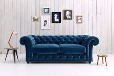 blue velvet chesterfield sofa how to make covers 106 best sofas images living room home bed collections of and couches selbicconsult com