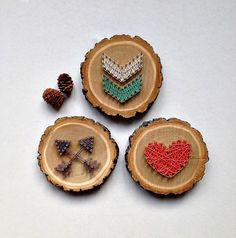 Handmade mini wood slice string art signs. These little cuties are made from maple wood slices that are cut by hand. These little signs are