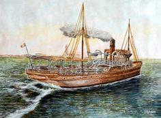 Un vecchio vaporetto vola verso le onde del golfo - quadro di Furio Bomben