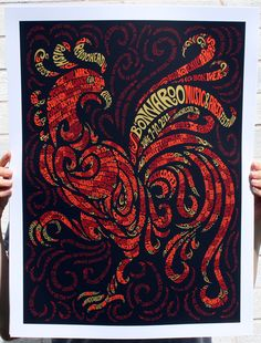Here comes the rooster (gigposter)  with: Radiohead, Red Hot Chili Peppers, Phish, Bon Iver, Alice Cooper - Ludacris. Follow me for more awesome