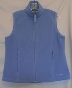 L. L. Bean Blue Sleeveless Poly Vest Size Small Zip Front 2 Front Zip Pockets #LLBean