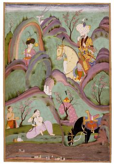ca. 1730. Mughal miniature from Nizami's famous romance about Khusraw and Shirin written in Iran in the 12th C. Painted in Hyderabad, a state that was created in the Deccan india when the Mughal Empire had begun to disintegrate. The man is in persian garb while the woman wears Indian attire.
