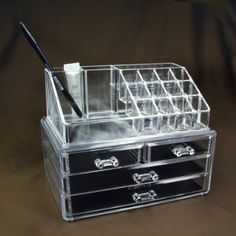 Acrylic Jewelry & Cosmetic Storage Display Boxes Two Pieces Set.
