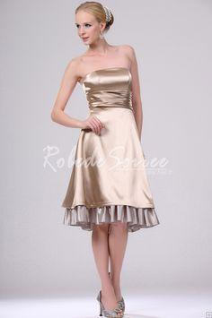 23a3c8d8300 Silk Like Satin Zipper Up Inverted Triangle Apple Strapless Hourglass  Champagne Cocktail Dress. Robe de Soirée