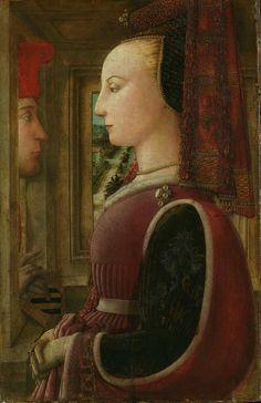 Fra Filippo Lippi, Ritratto di donna con un uomo al davanzale (1435-36) on ArtStack #fra-filippo-lippi #art