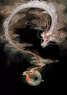 Fantasy Creatures, Mythical Creatures, Japon Illustration, Dragon Artwork, Dragon Pictures, Fantasy Dragon, Dragons, Japan Art, Fantasy Artwork