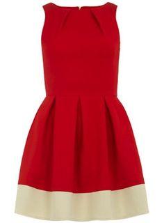 Graduation Dress: Red dress with contrasting creme hemline, Dorothy Perkins