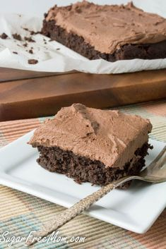 Sugar Free Low Carb Chocolate Crazy Cake { Egg Free, Dairy Free, Nut Free, Grain Free, Gluten Free} by Brenda Desserts Keto, Sugar Free Desserts, Sugar Free Recipes, Gluten Free Desserts, Gluten Free Recipes, Low Carb Recipes, Dessert Recipes, Diabetic Recipes, Dessert Ideas