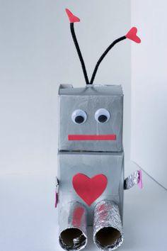 Robot Valentine Box and Fueling Creativity in Kids - Glue Sticks and Gumdrops Valentines Robots, Valentine Day Boxes, Valentine Crafts For Kids, Easy Crafts For Kids, Easy Diy Crafts, Valentines Diy, Printable Valentine, Valentine Wreath, Kids Diy
