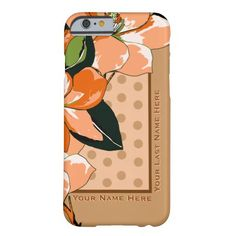 Peachy Azaleas, Polka Dots + Camel_Personalized - Stylish protection for your iPhone 6+ w/ IconDoIt's original digital painting of Pop Art style Azalea blossoms floating above camel polka dots on a pale blush background, camel colored borders on 2 sides & 2 custom text fields for your name or caption. See more floral cases @ www.zazzle.com/icondoit+flowers+cases?rf=238155573613991097&tc=pnt