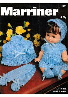 Doll's Knitting Pattern - Dress, Matinee coat, Bonnet, Bootees and Longies/Leggings 4 ply 12 to 18 inch doll