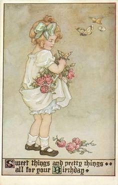 So liebliche und schöne Dinge für ihren Geburtstag. kleines Mädchen mit Rosen und Schmetterlingen
