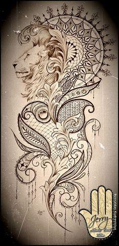 Tatto Ideas 2017 Beautiful lion mandala and lace tattoo idea design mendi patterns and filigree.