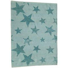 Vintage Teppich mit Sternen, jade grün, mit passendem Kissen, 100% Baumwolle, 120 x 160 cm, Lorena Canals