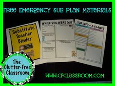 Clutter-Free Classroom: How to Prepare for a Sub {w/ FREE PRINTABLES}