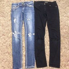 Blue and black jeans Sold TOGETHER both size 0 and have been worn Blue spice and ZCO jeans Jeans Skinny