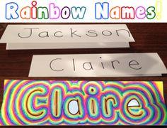 Rainbow Names art activity for elementary students