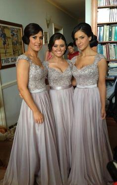 gorgeous silver bridesmaid dress