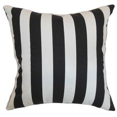 Ilaam Stripes Black Natural Feather Filled 18-inch Throw Pillow - Overstock™ Shopping - Great Deals on PILLOW COLLECTION INC Throw Pillows