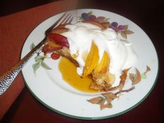 MysteryLoversKitchen.com Plumcott and peach skillet cake, with bourbon, whipped cream and maple syrup