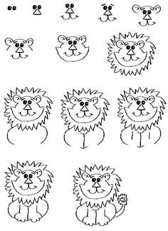 Exciting Learn To Draw Animals Ideas. Exquisite Learn To Draw Animals Ideas. Doodle Drawings, Cartoon Drawings, Animal Drawings, Easy Drawings, Lion Drawing Easy, Drawing Lessons For Kids, Art Lessons, Cartoon Lion, Lion Cartoon Drawing