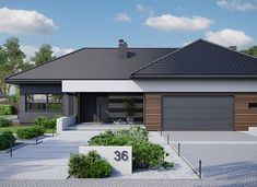 HomeKoncept-36 - zdjęcie 1 Flat Roof House, Facade House, Bungalow House Design, Modern Bungalow, Boutique Hotel Bedroom, House Plans Mansion, House Makeovers, Log Home Living, Modern Villa Design