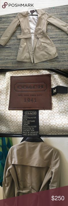 COACH icon trench coat Brand new only worn once. Tan. Size M. Buttons are white instead of black like in the pic. I'm sad to see it slip away, but I hardly get any use out of it! Open to offers. Coach Jackets & Coats Trench Coats