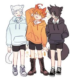 cute😭❤️❤️❤️ I love the Neverland anime so I opened this account for them and I hope you will support me💙💙💙💙. Manga Anime, Fanart Manga, Anime Neko, Anime Art, Kawaii Anime, Deku Anime, Character Art, Character Design, Film D'animation