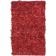 Leather Shag Red 2 ft. 3 in. x 4 ft. Area Rug