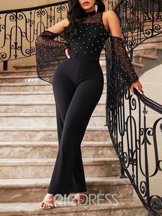 Ericdress Bead Plain See-Through Date Night Cold Shoulder Jumpsuit(Without Waistband) Rompers Women, Jumpsuits For Women, Clubbing Outfits, Lace Jumpsuit, Black Romper, Classy Dress, Elegant Woman, African Fashion, Dress To Impress