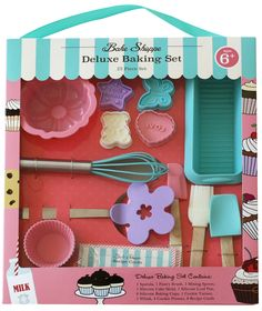 Bake up some love with this complete 25-piece Deluxe Baking Set from Handstand Kids!  This high quality kids cooking set is sized right for your kids and sturdy for regular use.  Don't forget the milk to drink with your Valentines Day Cookies, Mother's Day cupcakes and goodies for just about any occasion.  Great gift to encourage quality family time in the kitchen!