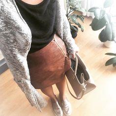 Leather,fall,knit,grey,black,brown,h&m,zara,bigbag,rainyday.