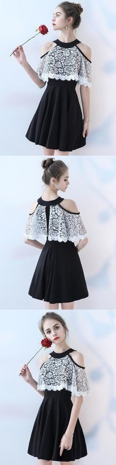 Chiffon Homecoming Dress, A-Line Homecoming Dress, Lace Homecoming Dress, Beautiful Junior School Dress, LB0834