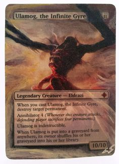 Ulamog, the Infinite Gyre This Is Only One Of My Altered Cards From This Weeks Batch! To See Them All Go To   www.stores.ebay.com/MTGAlteredMagicCards #MTG #MtgAltered #MtgAlteredArt #MtgHandPainted #MtgExtendedArt #Magic #MagicTheGathering #MtgAlter #Scg #Tcg #WOTC
